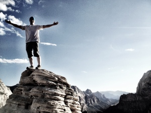 On top of the pinnacle of Angel's Landing in Zion NP